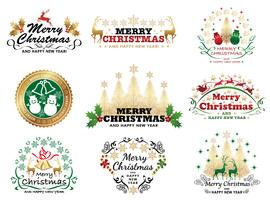 Set of Christmas badge or label.