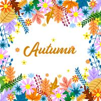 Autumn floral frame design with colorfull leaf