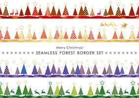 Set of Christmas seamless vector forest borders.