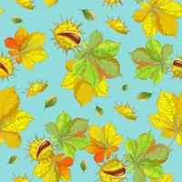 Seamless vector pattern with autumn leaves and chestnuts on a blue background.