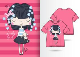 Cute Girl Dark Hair Hand Drawn T Shirt Design vector