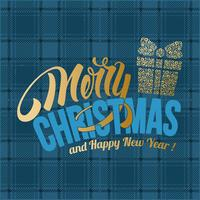 Merry Christmas blue plaid greeting