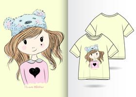 Hand drawn cute girl with t shirt design