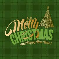 Merry Christmas green plaid greeting card