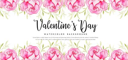 Roses Watercolor Valentine Banner