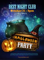 Halloween night club party flyer with pumpkins vector
