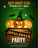 Halloween party flyer with pumpkins and wood sign