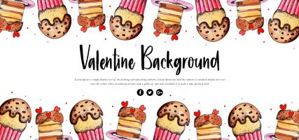 Cupcake Watercolor Valentine Banner