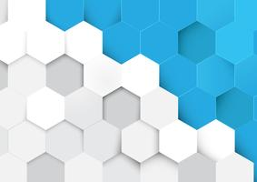 Abstract blue and white hexagon pattern