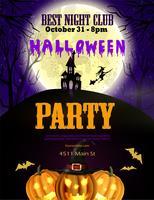 Panfleto de festa de Halloween com abóboras e casa assombrada