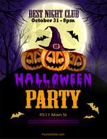 Halloween party flyer with three pumpkins