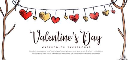 Watercolor Hearts Valentine Banner
