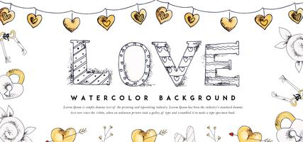 Valentine Banner Hand Drawing vector