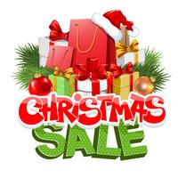 Advertising label for Christmas sale with cartoon lettering