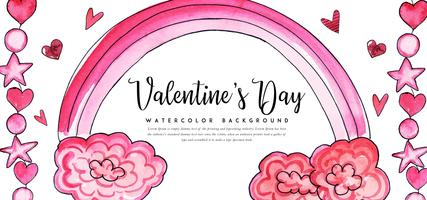 Raimbow Watercolor Valentine Banner