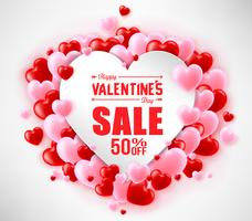 Valentines Sale Poster with heart balloons