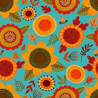Folk seamless pattern with autumn flowers