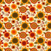 Folk seamless pattern with autumn flowers, leaves and berries.