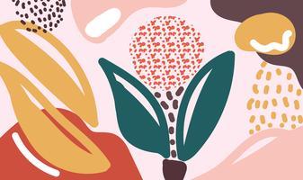 Fondo floreale di vettore di forme organiche moderne