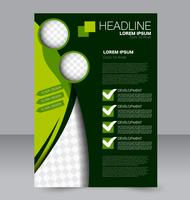 Bright simple green and black abstract flyer template