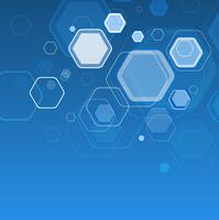 Abstract blue background floating hexagons
