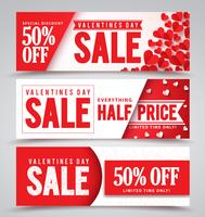 Set of Valentines Sale Banners With Hearts