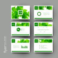 Conjunto de modelos de panfleto de brochura de natureza folha verde