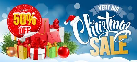 Diseño horizontal de venta de Navidad