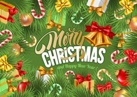 Festive Christmas and New Year Greeting Card vector
