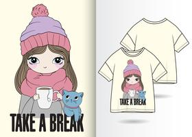 Diseño de camiseta dibujada a mano Take A Break
