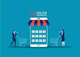 Business people, man and woman shop online store using smartphone