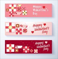 Feliz día de San Valentín banner fondo con caja de regalo
