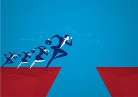 Business men jumping over chasm. Business success concept, risk. vector