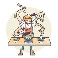 Man with multiple arms cooking multitasking illustration vector