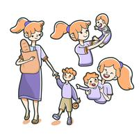 mother holding groceries with her son baby growing up illustration