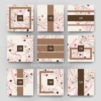 Conjunto de modelos promocionais de brochura floral quadrada