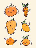 orange fruits and vegetable pumpkin, carrot, papaya, mango, peach and orange set vector
