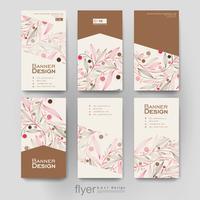 Satz vertikale Fahnen-Broschüren-mit Blumenpastellschablonen