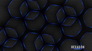 Blue and black glossy metal hexagons tech