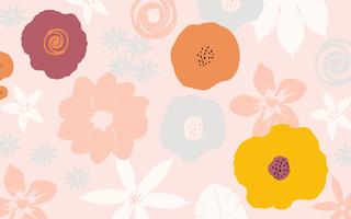Colorful flowers and leaves poster background  vector