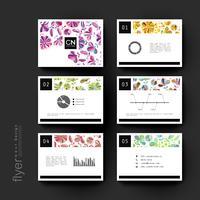 Set van gevarieerde kleur bloemen brochure sjablonen