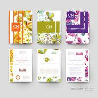 Set of Colorful Floral Vertical Brochure Templates