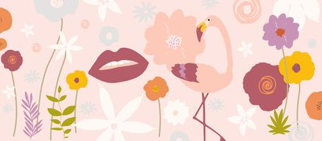 Tropical leaves and flowers poster background with flamingo