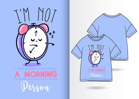 Morning Person Hand Drawn Clock T Shirt Design