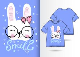 Hand drawn cute bunny with t shirt design
