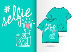 Selfie Hand drawn camera with t shirt design