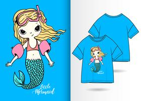 Swimming Mermaid Hand Drawn T Shirt Design