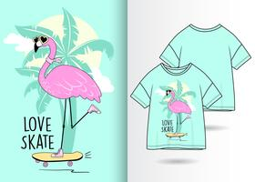 Cool Skate Flamingo Dessiné Main T Shirt Design