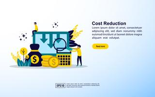 Cost reduction web page template  vector