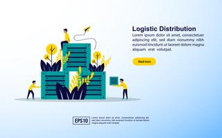 Logistic distribution with icons  vector